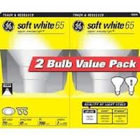 GE 18011 Twin Pack Light Bulb, 65R30, 65 Watts, White