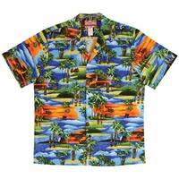 Men's Aloha Camp Shirt - Hawaiian Sunset Tikis - Coconut Buttons