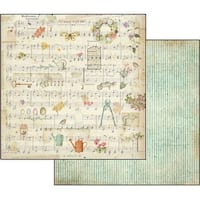 """Stamperia Double-Sided Cardstock 12""""X12""""-Score/Watering Can"""