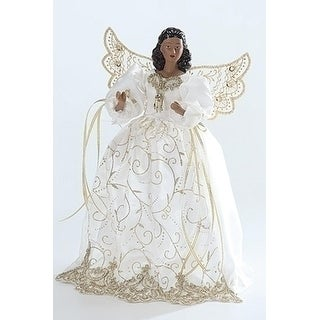 14 African American Decorative White and Gold Angel Tree Top