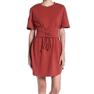 Soprano Terracota Womens Small Corset-Waist T-Shirt Dress
