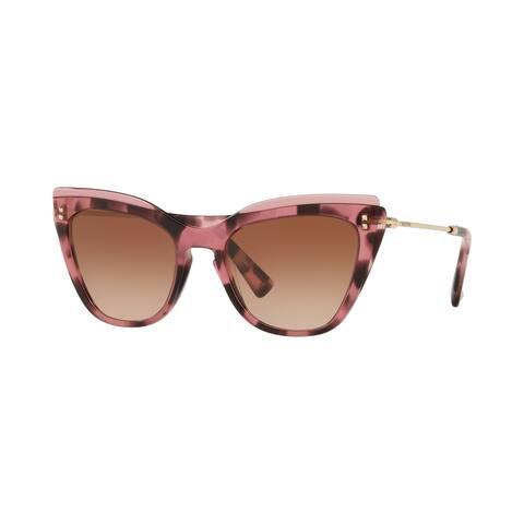 Valentino VA4043 510513 52 Transparent Pink/havana Pink Woman Cat Eye Sunglasses