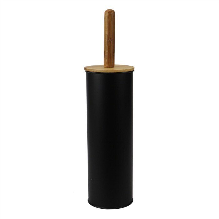 Steel Hideaway Toilet Brush Holder With Bamboo Top Black Overstock 32109277
