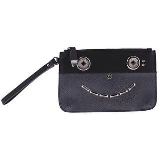 Calvin Klein Womens Wristlet Handbag Leather Embellished - Blue - small