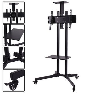 Costway TV Cart Stand Plasma LCD LED Flat Screen Panel w/ Wheels Mobile Fits 32''to 55''' - black