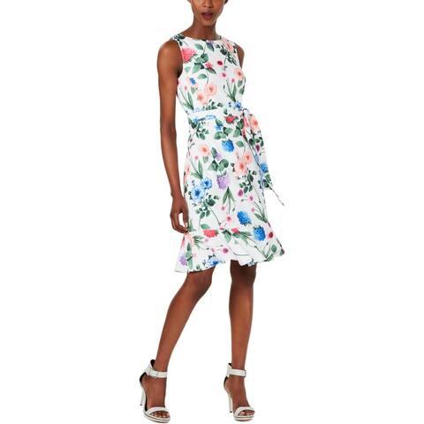 Calvin Klein Womens Petites Flounce Dress Floral Shift - White Multi - 10P