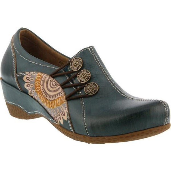 L'Artiste by Spring Step Women's Agacia Closed-Back Clog Teal Leather