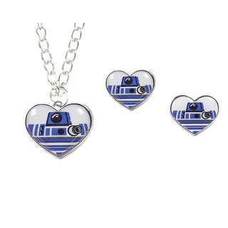 Disney Star Wars R2-D2 Heart Necklace and Earring Set - White