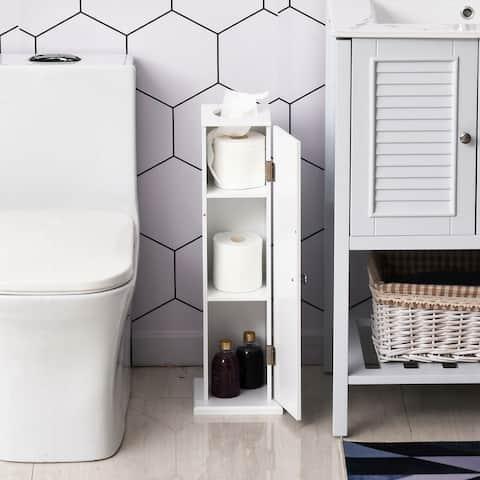 "HomCom 26"" Modern Country Vertical Bathroom Storage Cupboard Cabinet - White"