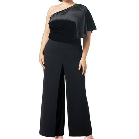 Adrianna Papell Women Jumpsuit Black Size 18W Plus Velvet One Shoulder