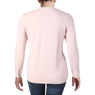 Vince Camuto Womens Plus Pullover Top Knit Lace Inset