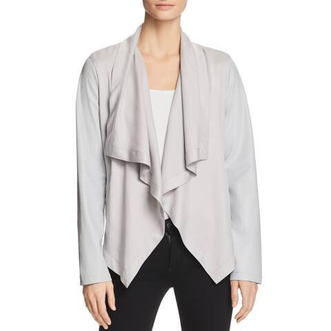 Bagatelle Women's Jacket Gray Size XL Faux-Leather Draped Open-Front