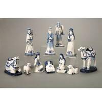 11-Piece Blue China Porcelain Christmas Religious Nativity Set - WHITE