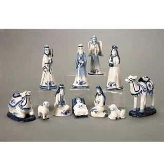 11-Piece Blue China Porcelain Christmas Religious Nativity Set