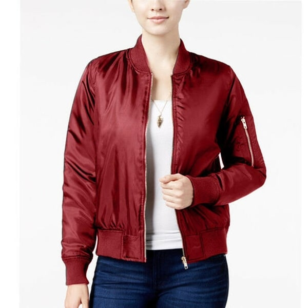 website for discount special price for 2019 factory price Say What? Junior's Bomber Jacket, Zinfandel, Medium