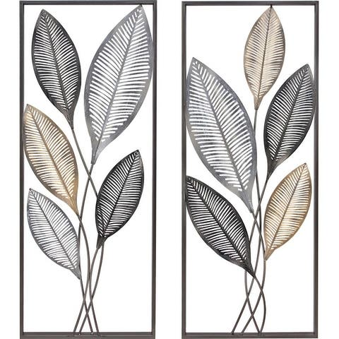 FirsTime & Co. Antique Gold & Metal Metallic Leaves Wall Decor Set - 14 x 1.5 x 35.5 in