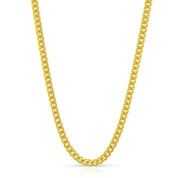 14K Yellow Gold 2.5MM Solid Miami Cuban Curb Link Necklace Chains ...