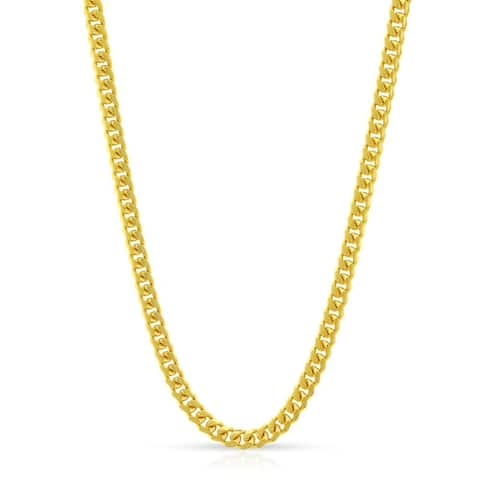 14k Yellow Gold Solid Miami Cuban Curb Link Necklace