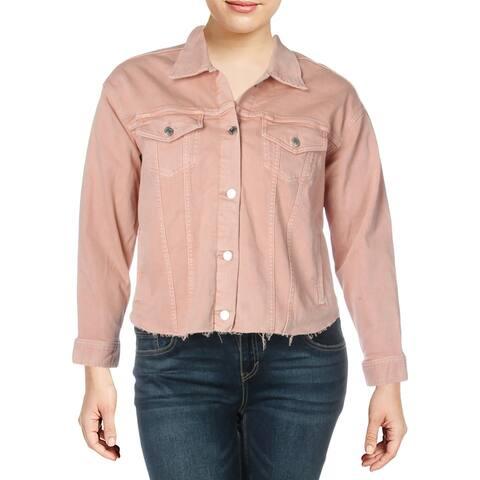 Lauren Ralph Lauren Womens Plus Radlee Denim Jacket Collared Raw Hem