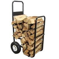 Sunnydaze Firewood Log Cart or Cart with Cover - Black