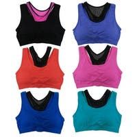 Women's Sweat Wicking Racer Back Sports Bras (6-Pack)