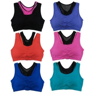 Women 6 Pack Seamless Double Layer Racer Back Sports Yoga Bras