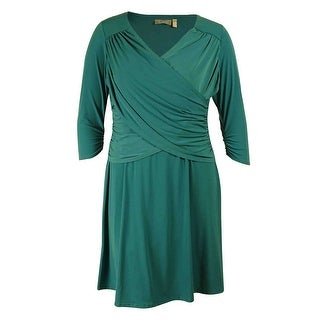 NY Collection Women's 3/4 Sleeve Cross Front Dress - Dark Olive