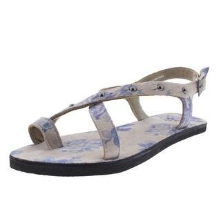 OTBT Womens Suede Studded Flip-Flops - 6 medium (b,m)
