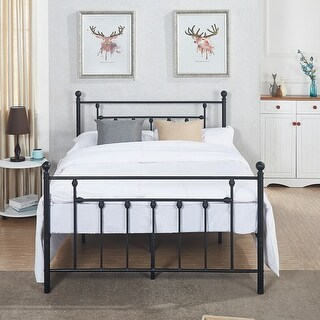 Full/Twin size Victorian Metal Platform Bed,Box Spring Replacement with Headboard Victorian Style
