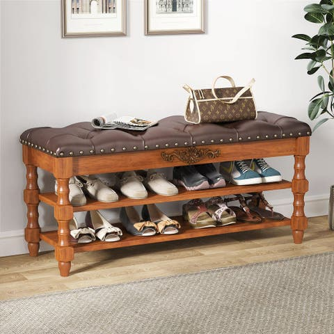 2-Tier Shoe Bench with Lift Top Tufted Leather Cushion