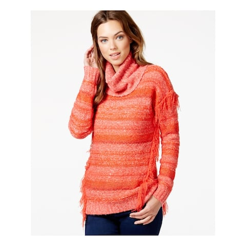 KENSIE Womens Orange Striped Long Sleeve Cowl Neck Sweater Size S