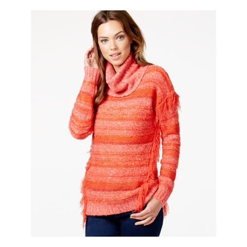 KENSIE Womens Orange Fringed Long Sleeve Cowl Neck Sweater Size XS