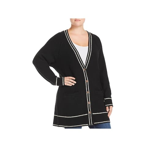 Lucky Brand Womens Plus Cardigan Sweater One-Button Stripe Trim
