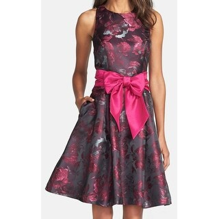 Eliza J NEW Pink Womens Size 14 Floral-Print Belted Sheath Dress