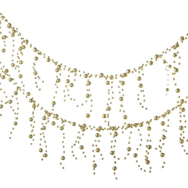6' Glamour Time Shiny Gold Beaded Christmas Garland - Unlit