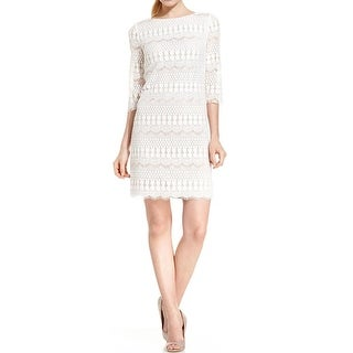 Jessica Howard Womens Petites Party Dress Lace 3/4 Sleeve