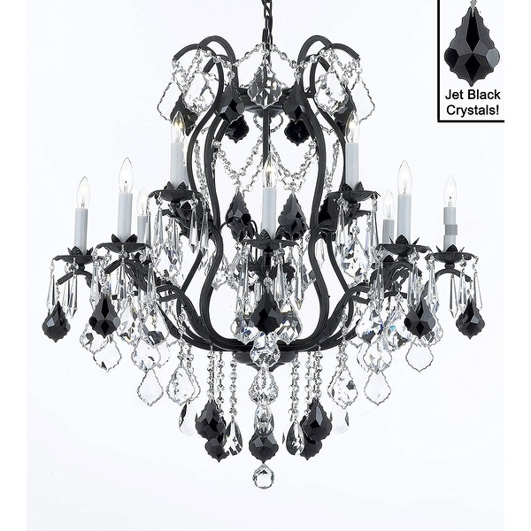 Wrought Iron Crystal Chandelier Lighting H30 X