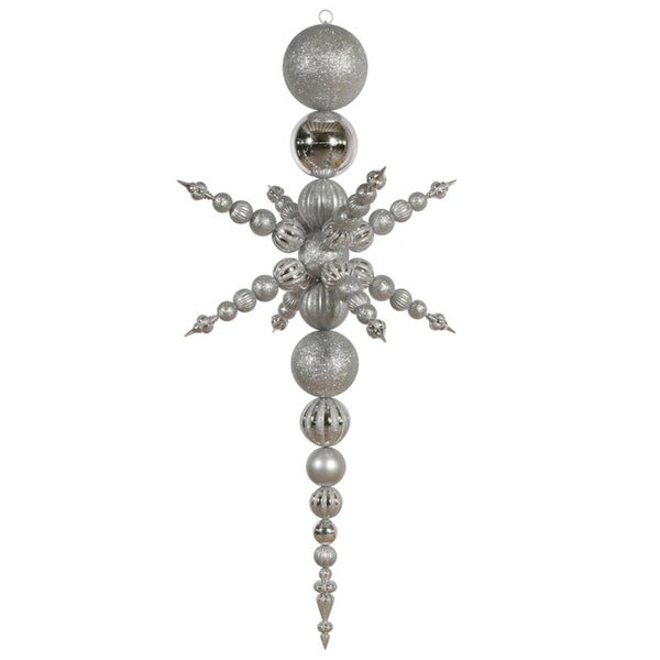 "76"" Silver Commercial Shatterproof Radical Snowflake Christmas Finial Ornament"