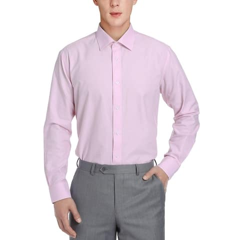 Men's Regular Fit Business Casual Cotton Solid Dress Shirt