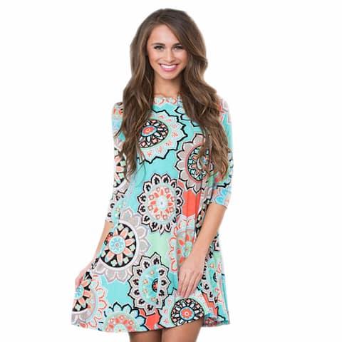 Ethnic Floral Pocket Large Swing Dress