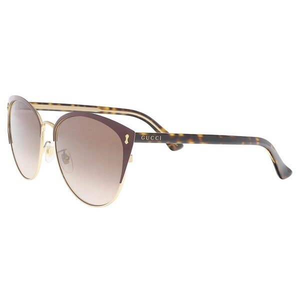 3729d6ca02 Shop Gucci GG0197SK-005 Burgundy Gold Cateye Sunglasses - 58-16-150 ...