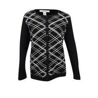 Charter Club Women's Plus Size Printed Cardigan (3X, Deep Black) - deep black combo - 3x