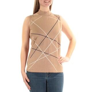 ALFANI $59 Womens New 1242 Beige White Turtle Neck Sleeveless Sweater M B+B