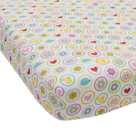 Lambs & Ivy Happi Tree by Dena Multicolor Animals and Floral 100% Cotton Baby Fitted Crib Sheet
