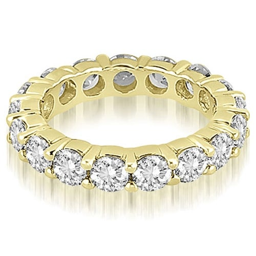 5.60 cttw. 14K Yellow Gold Round Shared Prong Diamond Eternity Ring