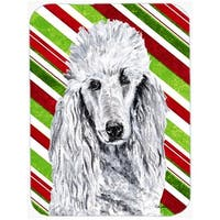 White Standard Poodle Large Size Candy Cane Christmas Glass Cuttin