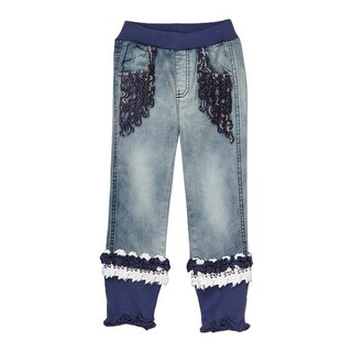 Rock'nStyle Girls Blue Rusching Trim Owl Patch Denim Pants