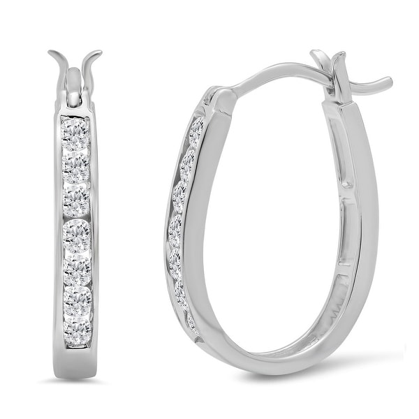 Amanda Rose 1/2ct tw Diamond Hoop Earrings in 10K White Gold