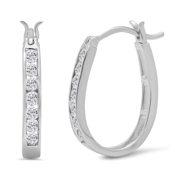 Amanda Rose AGS Certified 1/2ct tw Diamond Hoop Earrings in 10K White Gold