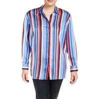 Lauren Ralph Lauren Womens Plus Button-Down Top Cotton Multi Striped